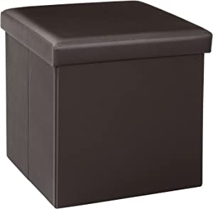 Bonlife Ottomane de Rangement Pliable Simili Cuir Repose-Pieds Peu encombrant Organiseur de Salle de Coffre Cube Box pour Assise et Se Reposer (Marron)