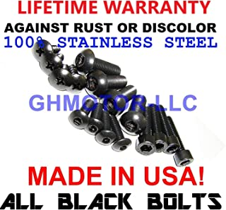 GHMotor Fairings Bolts Screws Fasteners Kit Set Made in USA for 1998 1999 2000 2001 KAWASAKI ZX9R ZX-9R - Black