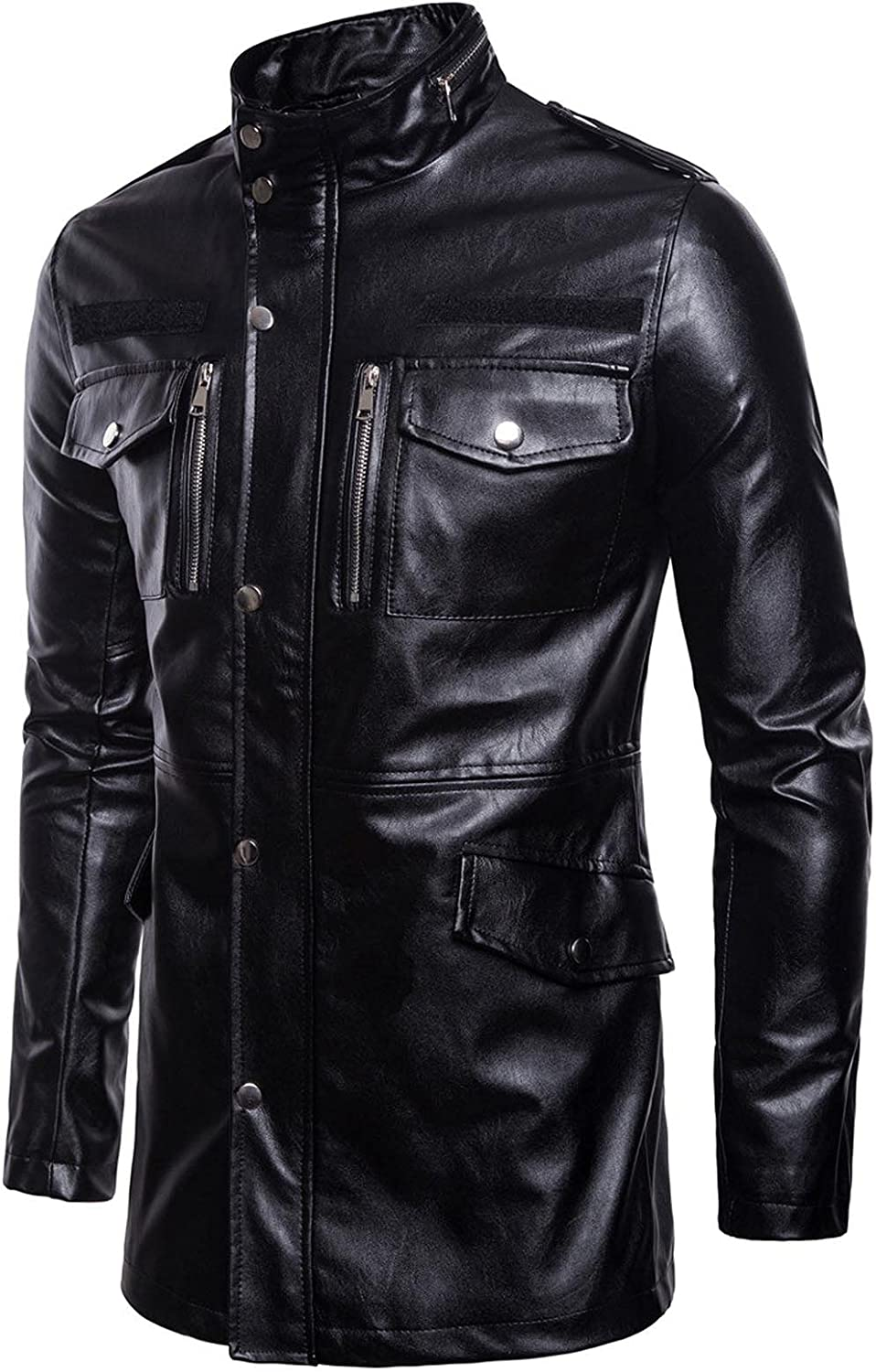 Men's Mid-Length Leather Jacket with Stand-up Collar Four-Pocket Motorcycle Leather Jacket Black- 2XL