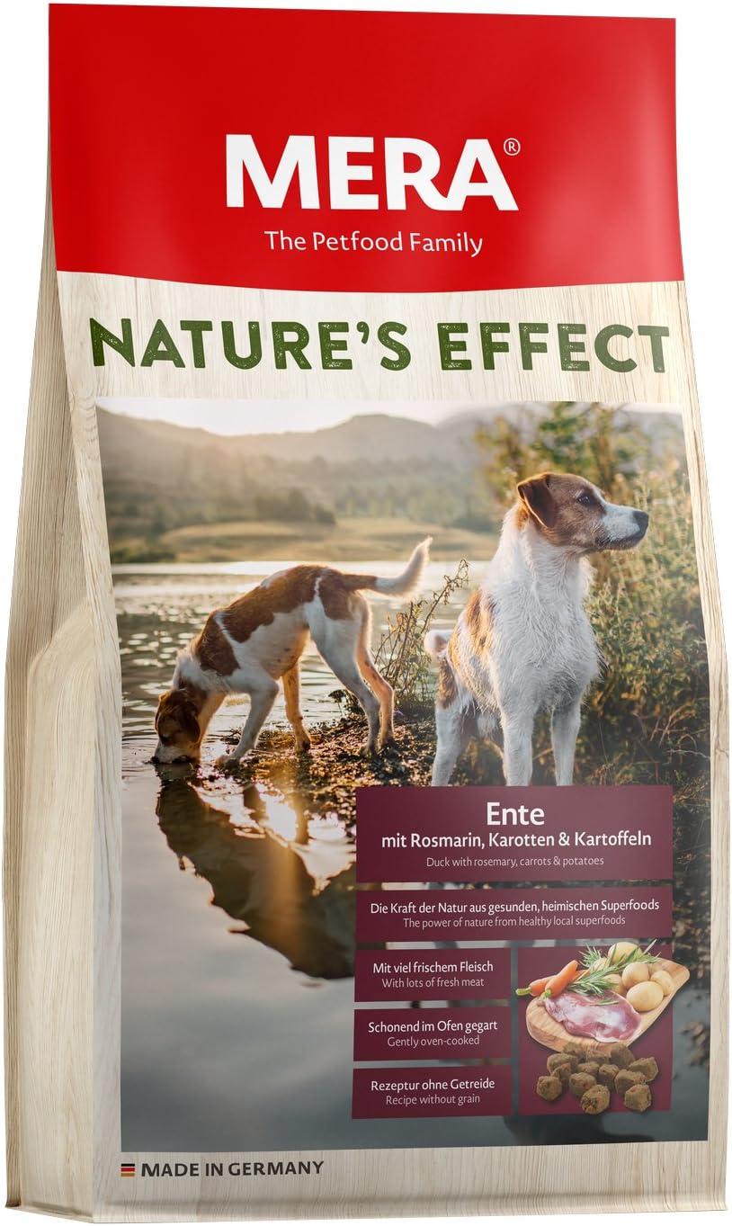 MERA Natures Effect, Comida para Perros sin Cereales, alimento seco Premium para Perros con Pato, Romero, Zanahorias y Patatas