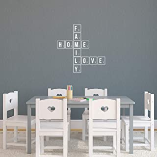 "Vinyl Wall Art Decal - Family Scrabble - 22"" x 22"" - Modern Inspirational Cute Love Quote Sticker for Home Bedroom Kids Ro..."