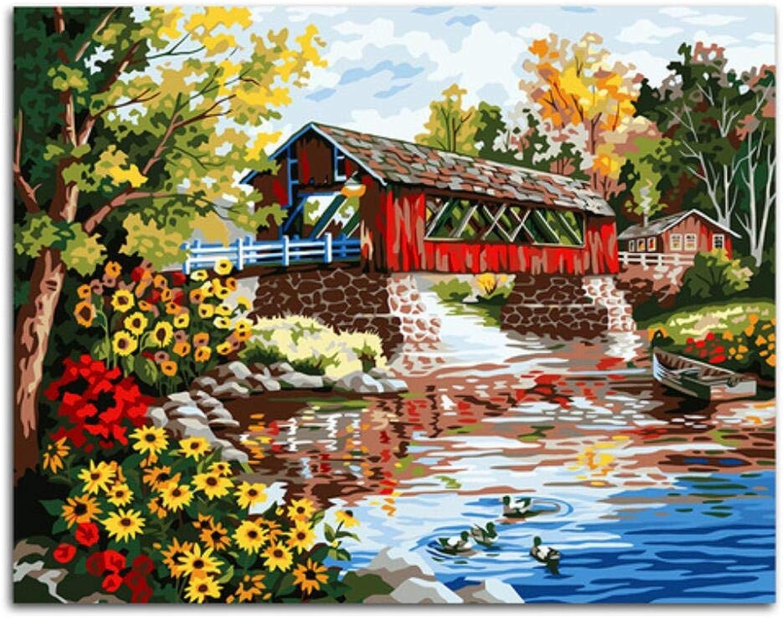 Agolong Wasseroberfläche Brücke Blaume Pflanzenmalerei nach Zahlen Färbung nach Zahlen rahmenlose 40x50cm B07PQ1RK6K   Zürich