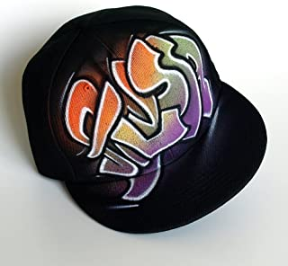 CUSTOM Snapback hat, GRAFFITI name cap, initials, PERSONALIZED baseball cap, black, custom airbrushed, hand painted, flat peak, one size fits all, toddler size, hip hop, full cap, new era, alyssa