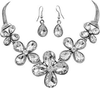 Gypsy Jewels 5 Daisy Flower Cluster Rhinestones Trendy Silver Tone Statement Necklace