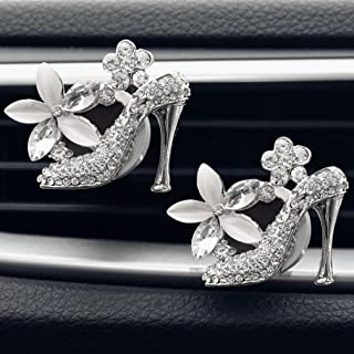 Amiley car fragrance diffuser vent clip , hot sale Car Loving Gift Air Outlet Fragrant Perfume High Heels glitter Bling bling Lips Freshener Diffuser (Silver)