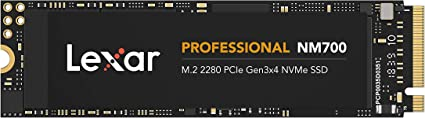 TALLA 512GB. Lexar Professional NM700 M.2 2280 PCIe NVMe 512GB SSD, Juegos, hasta 3500MB/s de Lectura (LNM700-512RB)