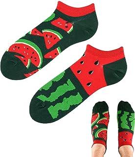 TODO Colours - Calcetines para zapatillas Juicy Watermelon LOW divertidos de sandía para hombre y mujer, multicolor