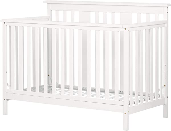 South Shore 11849 Cotton Candy Baby Crib 4 Heights With Toddler Rail Pure White