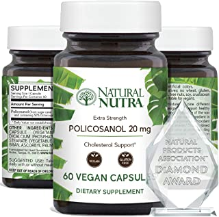 Natural Nutra Policosanol 20mg with Octacosanol, Antioxidant Supplement for Cholesterol Support 60 Vegan and Vegetarian Ca...