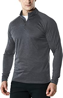 TSLA Men's 1/4 Zip Pullover Long Sleeve Shirt, Quick Dry Performance Running Top, Athletic Quarter T-Shirt