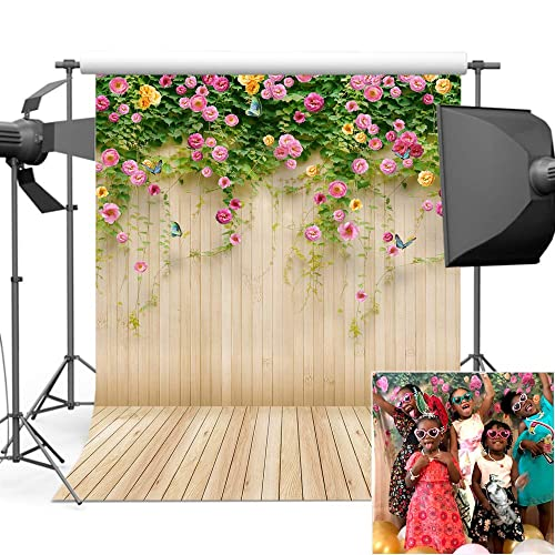 7x10 FT Vinyl Photography Background Backdrops,Watercolor Style Funny Smiling Spiny Mammals with Hand Drawn Daisy Flowers Background for Child Baby Shower Photo Studio Prop Photobooth Photoshoot