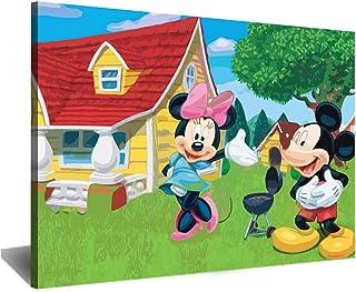 Visionpz Peinture par numéros pour Adultes Cartoon Mickey Minnie Peinture Acrylique Bricolage Kit de Peinture à l'huile pa...