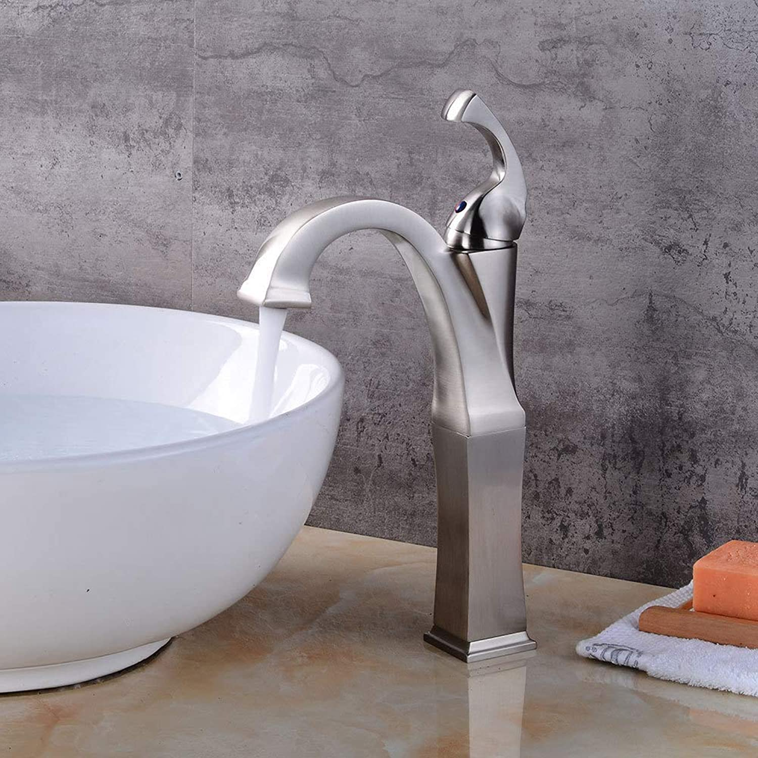 Single Handle Faucet,Deck Mounted Brushed Nickel Basin Faucet Single Handle Creative Counter top Hot Cold Faucet.