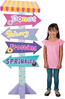 Fun Express - Donut Party Directional Sign for Birthday - Party Decor - Large Decor - Floor Stand Ups - Birthday - 1 Piece