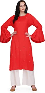 Pret A Porter Coral Colored Rayon Designer Kurti With Palazzo Pants (Stitched)