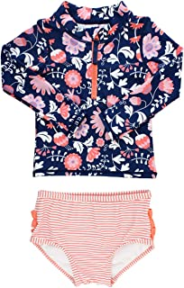 RuffleButts Little Girls Long Sleeve Rash Guard 2 Piece Swimsuit Set w/UPF 50+ Sun Protection with Zipper