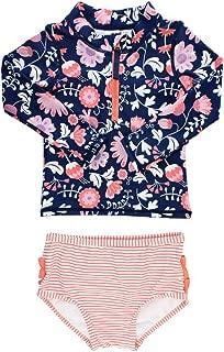 Little Girls Long Sleeve Rash Guard 2 Piece Swimsuit Set w/UPF 50+ Sun Protection with Zipper