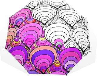 HMWR Umbrella Windproof Compact Art Ethnic Colorful India Paisley Wave Pattern Folding Travel Rain Umbrella 02