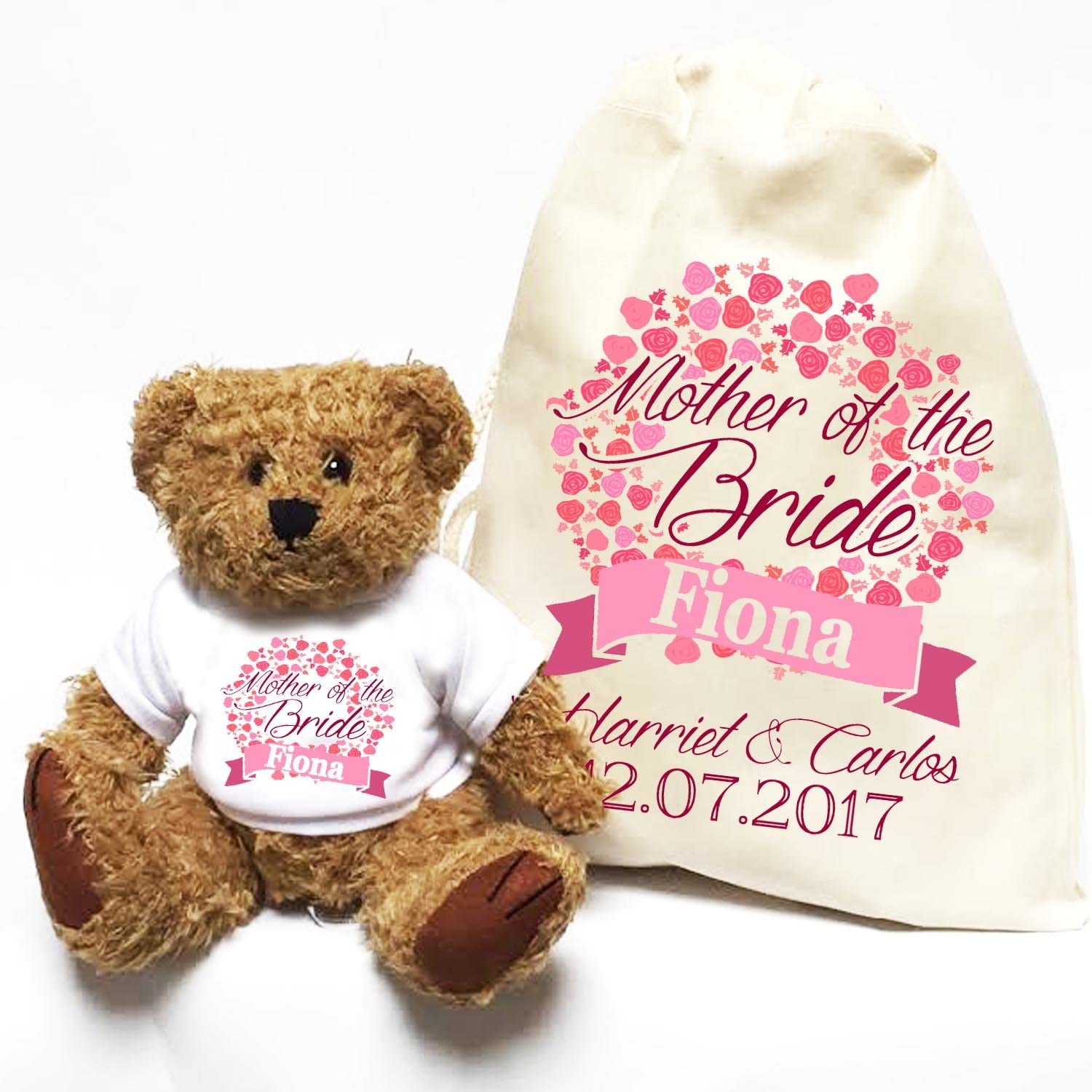 Personalised wedding teddy orso Mother of the Bride circle of flowers