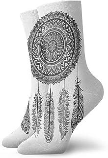 Fuliya, Calcetines cortos de longitud de pantorrilla suaves atrapasueños étnicos con hojas de follaje florecientes con plumas aztecas colgantes, calcetines para mujeres y hombres, lo mejor para correr