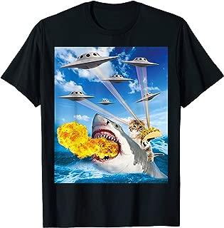 Cat Riding Fire Breathing Shark Rainbow Laser Taco T-Shirt