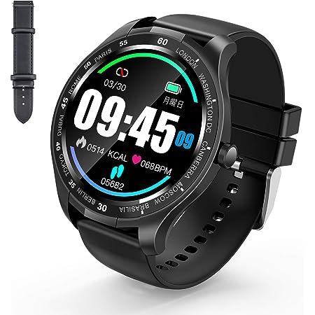 【Amazon限定ブランド】SUNGYIN スマートウォッチ smart watch 1.3インチ大画面 全画面タッチスクリーン スマートブレスレット 電話着信通知 アプリ通知 音楽/カメラ制御 ストップウォッチ タイマー スマホ探し アラーム設定 IP67防水 200mAh大容量 専用アプリHBand IPHONE/Android対応 日本語説明書付 1年保証