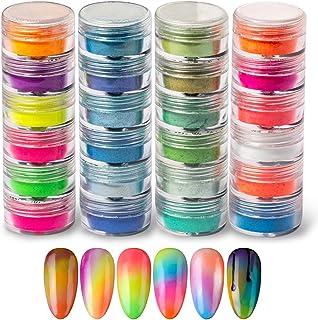 Sponsored Ad - DAGEDA 24 Color Pigment Nail Powder, Colorful Iridescent Glitter Ultrafine Luminous Pearlescent High-Gloss ...