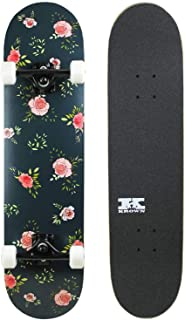 """Krown Pro Skateboard Complete Pre-Built Floral Flowers 7.75"""" Ready to Ride"""