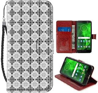 Wallet Phone Case Compatible for Motorola Moto G6 Plus (5.93 Inch) Celtic Scandinavian Celtic Regular Interlace Nested Old Motif Old School Vintage Design Grey White Flap Case