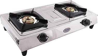 Prestige Star Glass Top 2 Burner Gas Stove, Manual Ignition, Metallic Silver