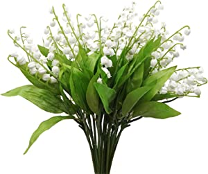 MINYULUA 20 Bundle Lily of The Valley Artificial Flowers White Wind Chime Orchid Wedding Holding Bouquet Arrangement for Home Garden Wedding Party Decor