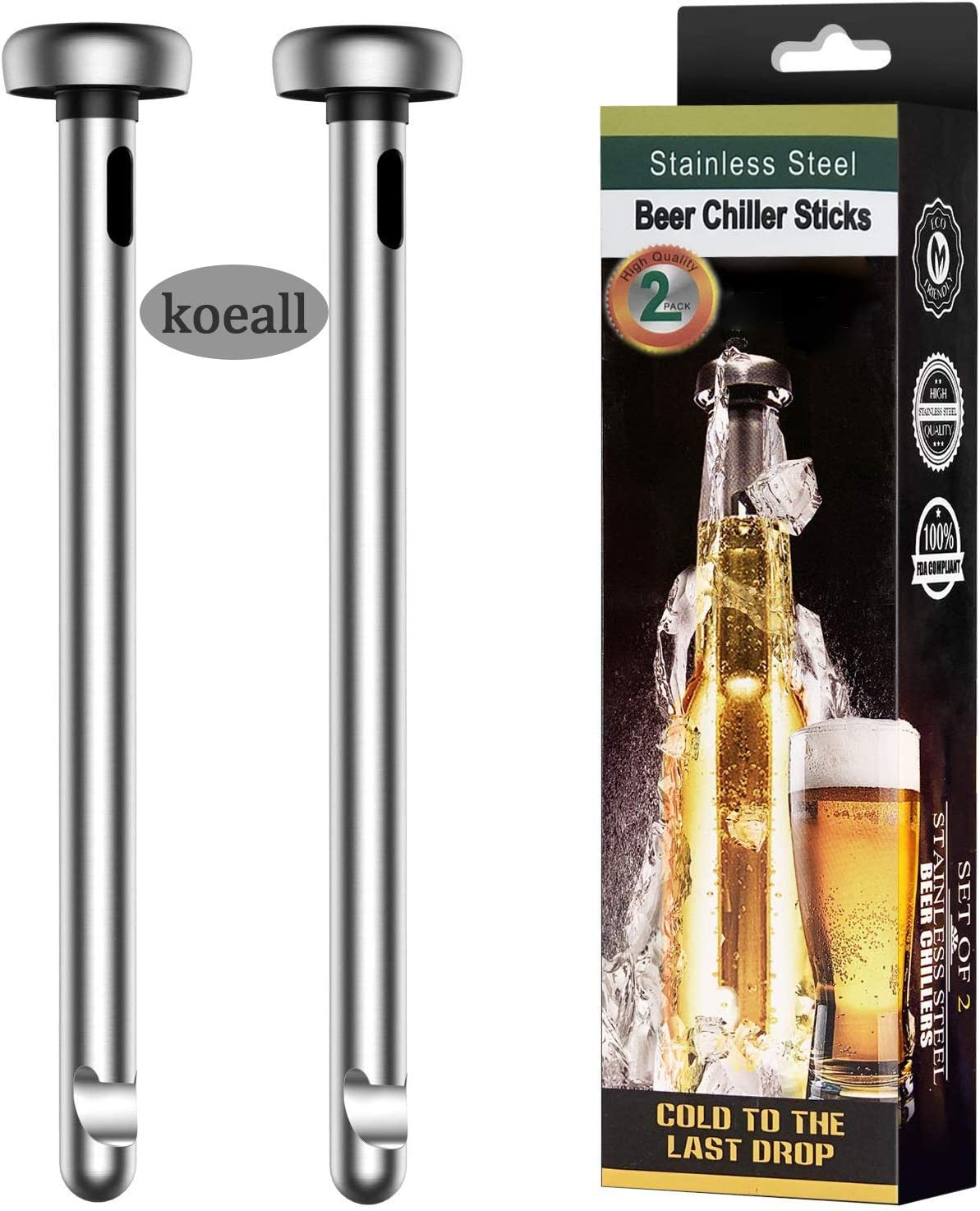 koeall Beer Chiller Stick Stainless Cooling Miami Mall Stic Beverage Max 58% OFF Steel