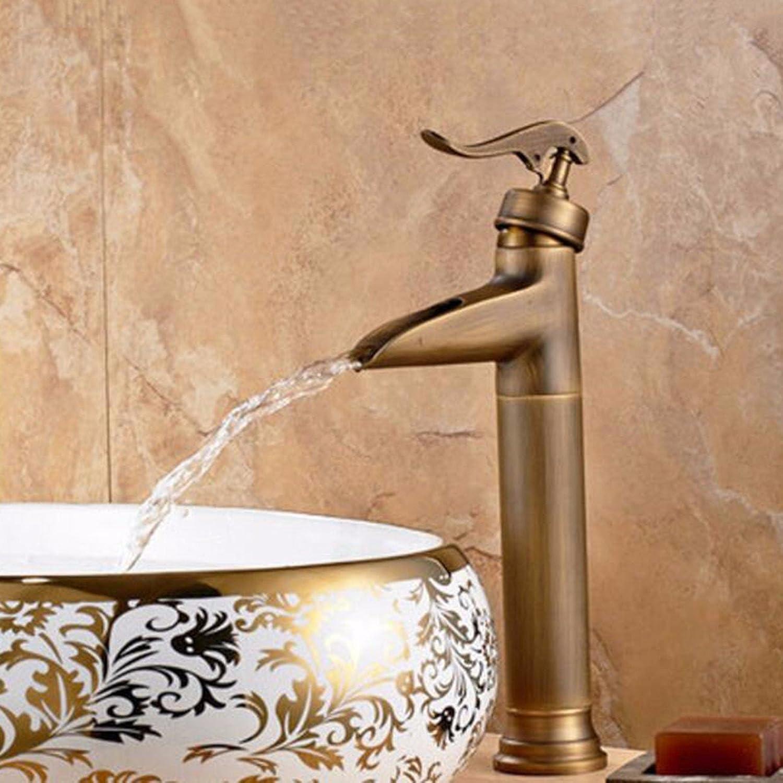 Bijjaladeva Wasserhahn Bad Wasserfall Mischbatterie Waschbecken Waschtisch Armatur für BadGebürstet Antik Wasserhahn Becken aus Bronze-Weiten Wasser-Kühlkrper gekühlt auf Einem