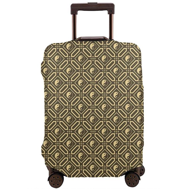 ミュウミュウ診療所革命的ラゲッジカバー スーツケースカバー 陰陽 太極 幾何柄 トランクカバー ラゲッジカバー キャリーバッグ お荷物カバー 保護 目立つ ファスナー付き 海外旅行 便利 防塵 防水 おしゃれ 伸縮素材 S-XL