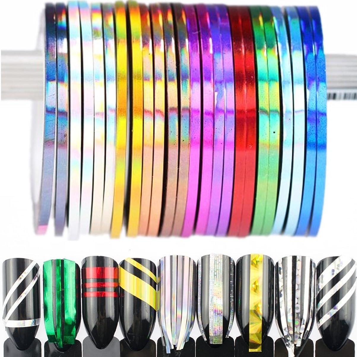 ブラウズパウダー会話BlueZOO (ブルーズー) レーザーラインテープ 幅0.8mm/2mm/3mm ジェルネイルアート用品 輝き ゴールド シルバー フレンチ ライン テープ ネイルシール ストライピングテープ 爪 アクセサリー