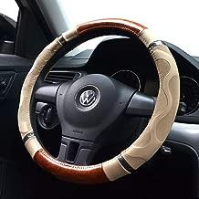 Amo Microfiber Leather Car Steering Wheel Cover, Massage Design, Comfortable and Anti-Slip, Universal 15 inch, Beige