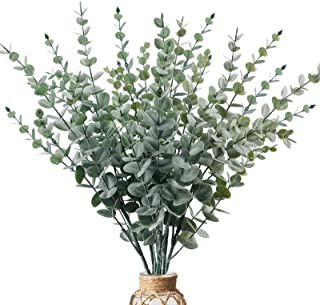 CEWOR 6pcs Artificial Eucalyptus Leaves Stems Faux Greenery Branches for Home Centerpieces Wedding Indoor Decoration