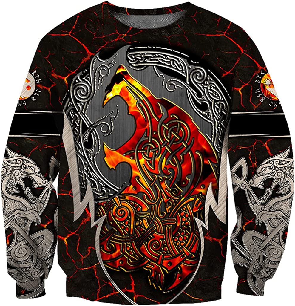Unisex 3D Wolf Hoodie, Norse Viking Fenrir Printed Tattoo Long Sleeve Pullover Sweatshirt Casual Loose Streetwear