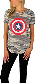 Marvel Womens Captain America Distressed Logo Tee Camouflage