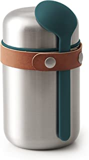 BLACK + BLUM Vacuum Food Flask Leak Proof Insulated Stainless-Steel Thermos Lunch Container with Ladle Spoon Ideal for Hot and Cold Food, Ocean, 13oz / 400ml