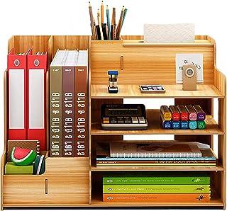 Catekro Grande Capacité Boîte de Rangement de Bureau Porte-stylo / Bibliothèque en Bois, 39x29x28 cm