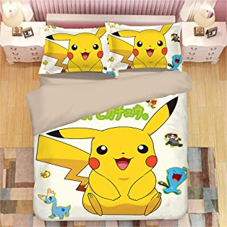 Sunday 3D Duvet Cover for Pokemon Pikachu 3 pcs Cartoon Anime Bedding Set Soft Microfiber with Zipper Closure, Best Gift for Kids, Queen Size