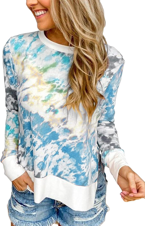 Andongnywell Women's Crew Neck Pullover Plus Size Top Long Sleeve Colorblock Blouse Tie Dye Sweatshirts