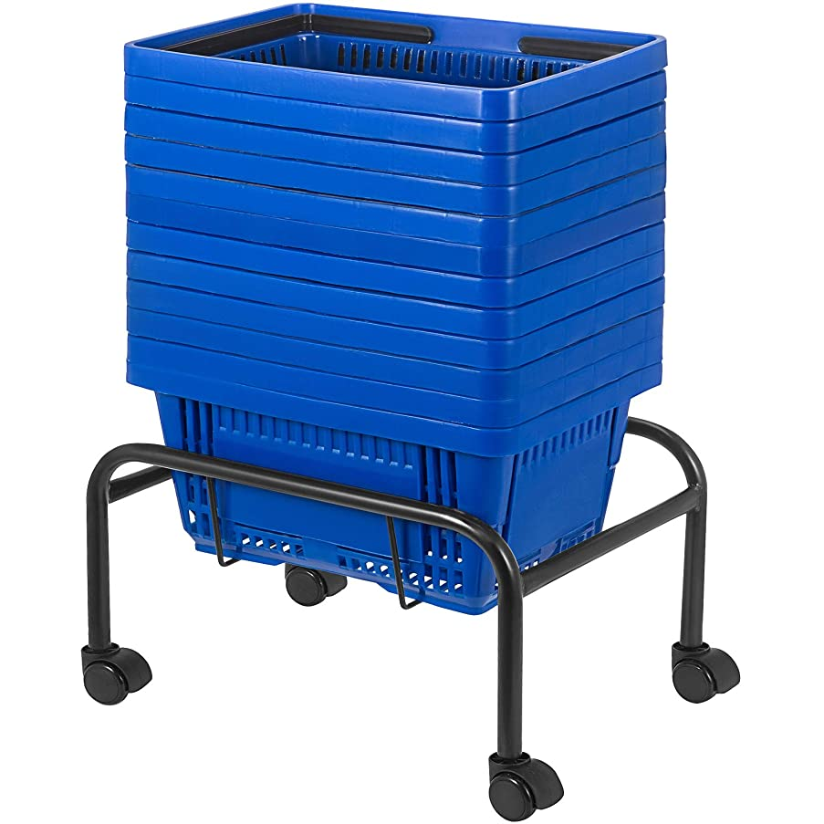 Mophorn Shopping Basket 12PCS Plastic Basket Large Blue Basket with Handle Portable and Durable Stand with Rollers and Sign Shopping Baskets for Retail Store (18 X 12 X 10 inch, Blue)