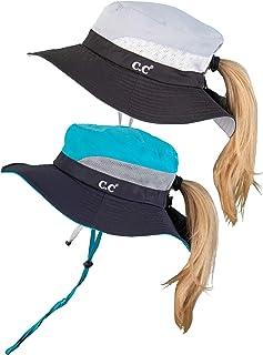 Funky Junque Ponytail Bucket Hat UPF 50+ Messy Bun Sun Hat Wide Brim Mesh Cap