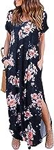 HUSKARY Women's Summer Maxi Dress Casual Loose Pockets Long Dress Short Sleeve Split