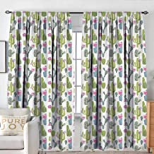 NUOMANAN Insulating Blackout Curtains Exotic,Saguaro San Pedro Cactus Rebutia Floral Desert Wilderness Pattern,Lime Green Fuchsia Slate Blue,Drapes Thermal Insulated Panels Home décor 120