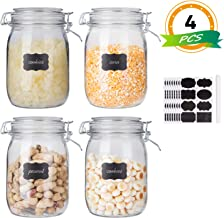 Glass Kitchen Storage Canister Mason Jars with Lids,32oz Airtight Glass Canister with Hinged Lid,Perfect for Kitchen Canni...
