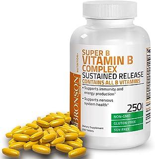 Bronson Super B Vitamin B Complex Sustained Slow Release (Vitamin B1, B2, B3, B6, B9 - Folic Acid, B12) Contains All B Vit...