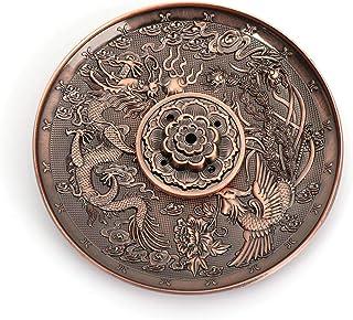 ARRIVEOK Dragon Phoenix Backflow Incense Plate Censer Joss-Stick Holder 5 Holes Lotus Retro Chinese Zodiac Buddhism(Purple Bronze-Dragon Phoenix)